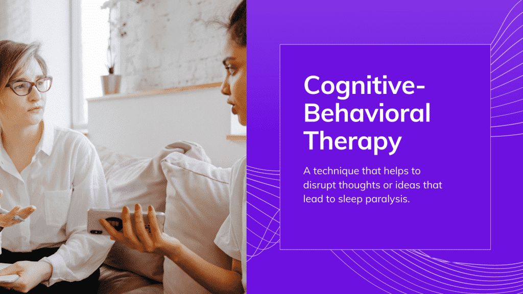 sleep terror treatment: Start cognitive-behavioral therapy (CBT)